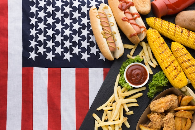Flat lay of american food with america flag