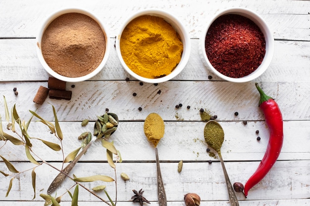 Flat lay aromatic asian spices