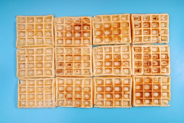 Flat lay of arranged waffles