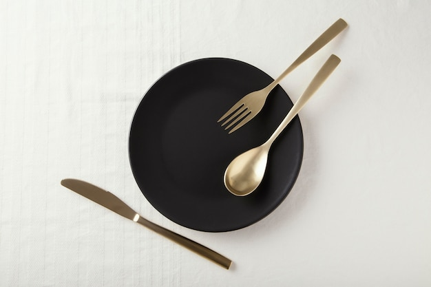 Flat lay arrangement of beautiful tableware on the table