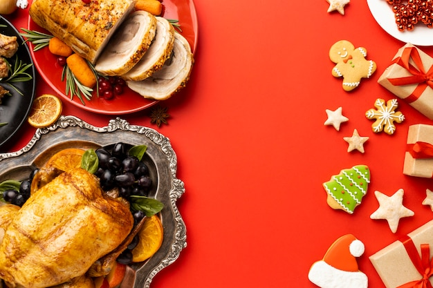 Flat lay arrangement of christmas food with copy space
