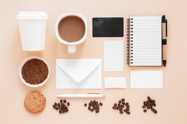 Flat lay arrangement of coffee shop branding elements