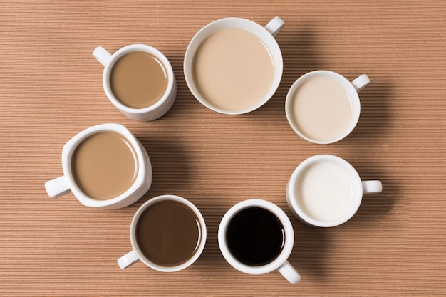 Flat lay arrangement of delicious coffee types