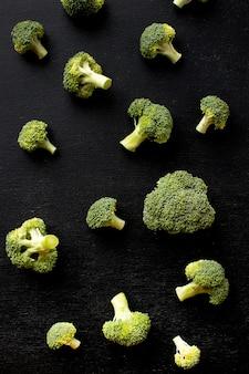 Flat lay arrangement of delicious fresh broccoli