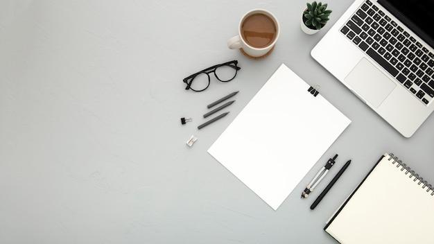 Flat lay arrangement of desk elements