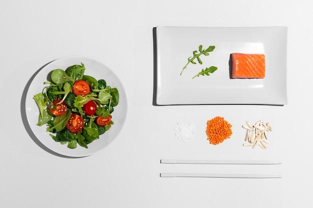 편평한 위치 배열 Flexitarian 다이어트 프리미엄 사진