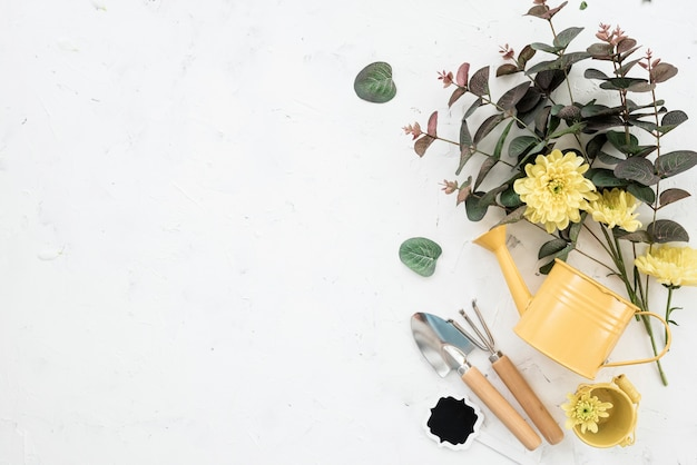 Flat lay arrangement of gardening tools and blooming flowers copy space