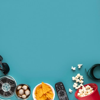 Flat lay arrangement of movie elements with copy space