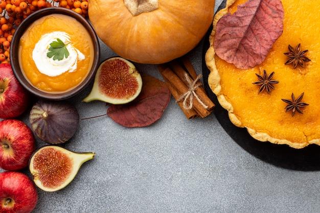 가을 음식의 평평한 배치 배열