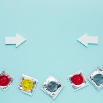 コピースペースと避妊コンセプトのフラットレイ配置