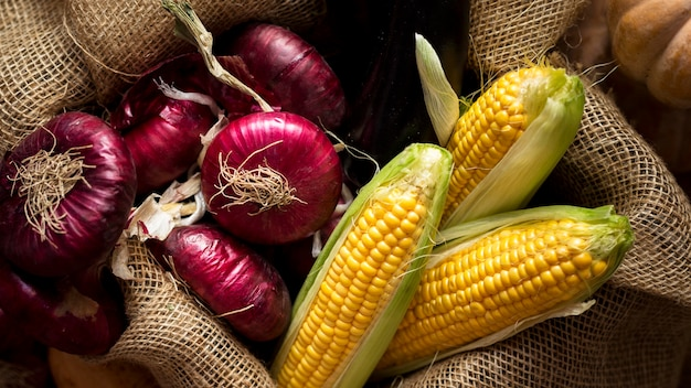 Плоская композиция из вкусных осенних овощей