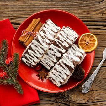 Плоская композиция из вкусного рождественского блюда