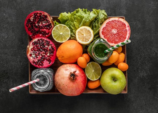 면역력 증진을위한 건강 식품의 평평한 배치