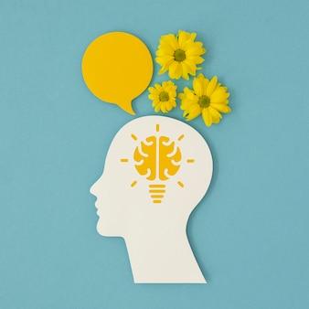 Плоская планировка концепции оптимизма с цветами