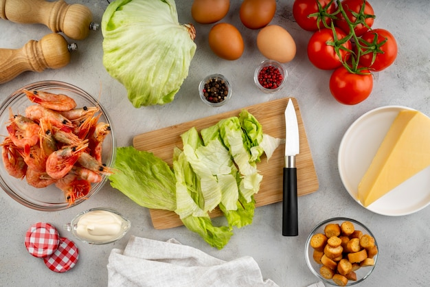 おいしい食べ物や食材のフラットレイアレンジメント