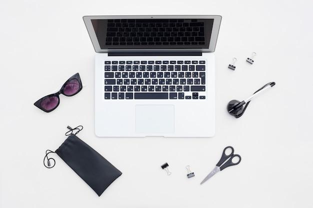Flat lay arrangement of office items