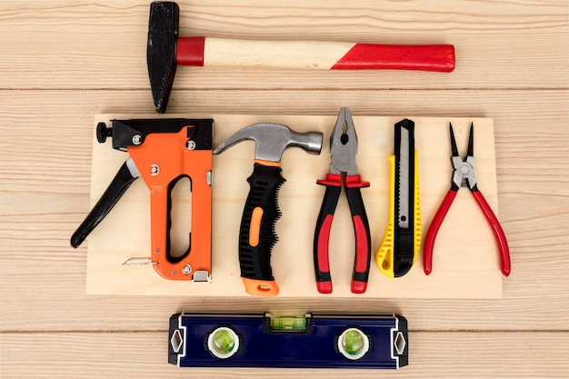 Flat lay arrangement of tools for carpentry
