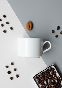 Flat lay arrangement with coffee cup mock-up