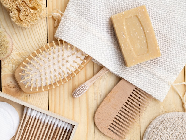 Flat lay arrangement with comb and soap