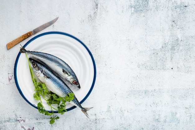 Flat lay arrangement with cooked fish and stucco background
