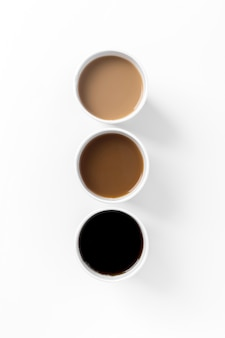 Flat lay arrangement with different types of coffee