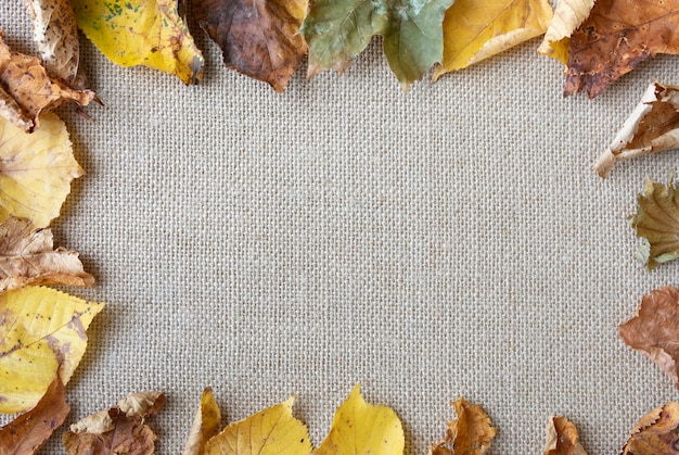 Flat lay arrangement with leaves on sack texture