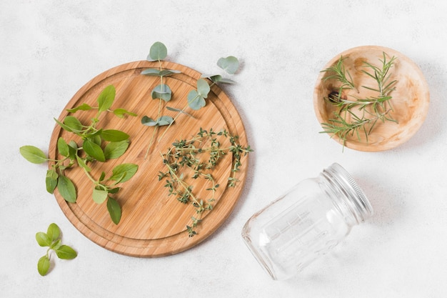 Flat lay arrangement of zero waste products on marble background