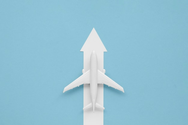 Flat lay arrow for airplane direction