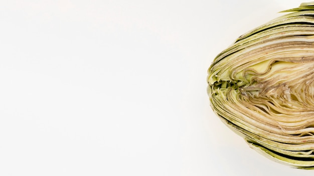 Flat lay of artichoke with copy space