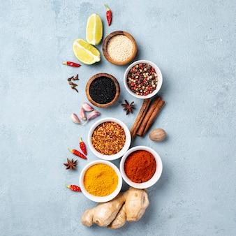 Flat lay asian food ingredients arrangement