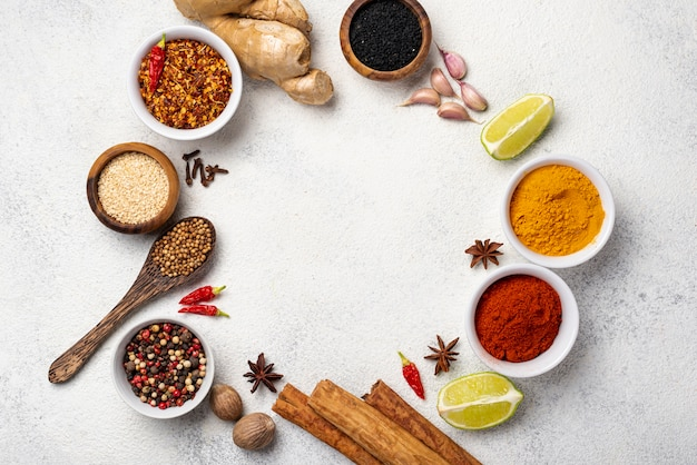 Flat lay asian food ingredients frame