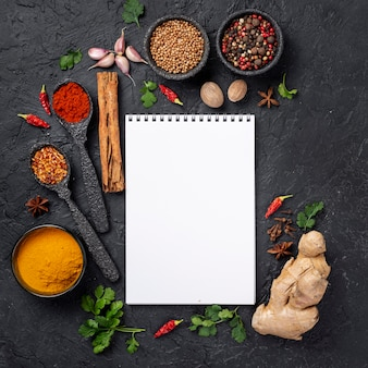 Flat lay asian food ingredients mix  with blank notebook