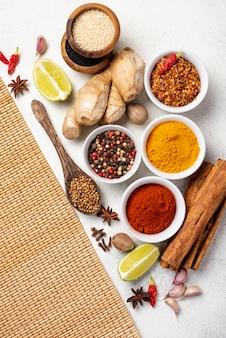Flat lay asian food ingredients