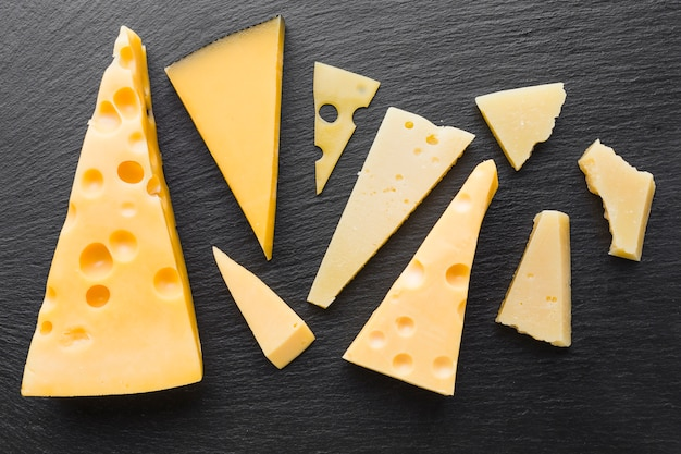 Flat lay assortent of emmental cheese