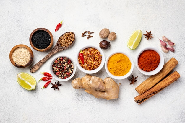 Flat lay assortment of asian food spices