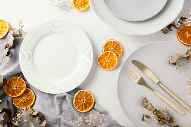 Flat lay assortment of beautiful tableware on the table