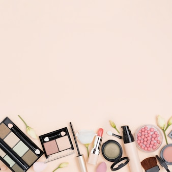 Flat lay assortment of beauty products with copy space