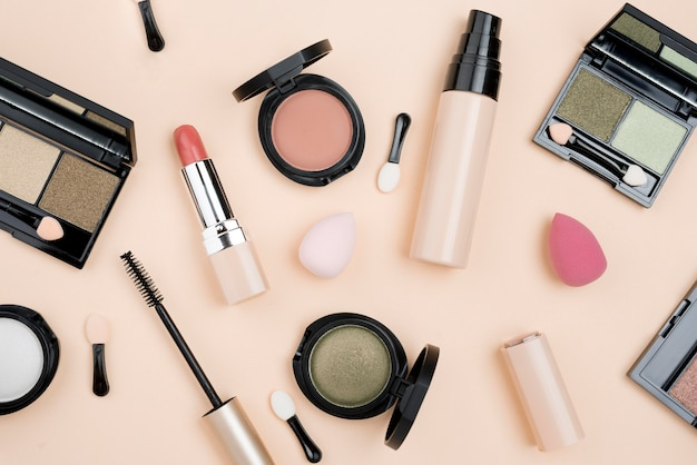 Flat lay assortment of beauty products