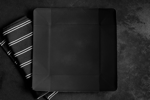 Flat lay assortment of black tableware