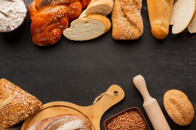 Flat lay of assortment of bread with seeds