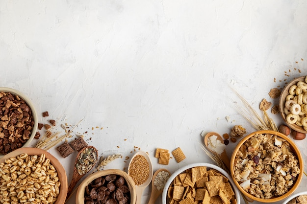 Flat lay of assortment of breakfast cereals with copy space
