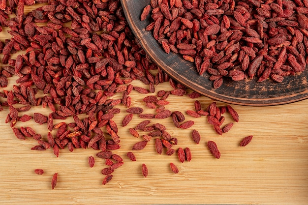 Flat lay assortment of dried goji berries