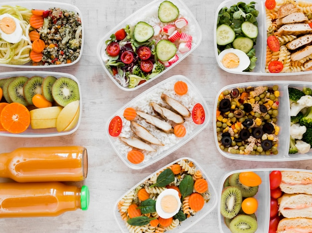 Flat lay assortment healthy meal