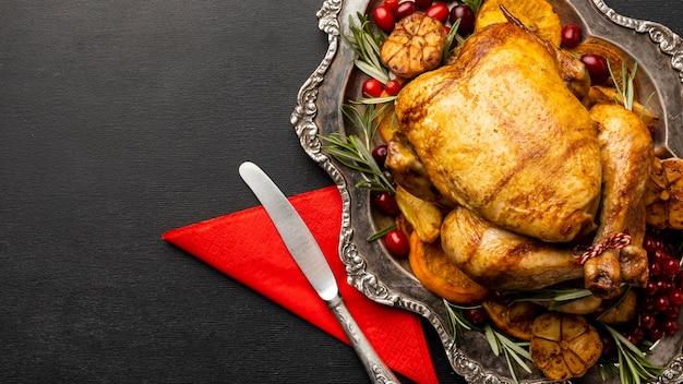 Плоский ассортимент рождественской еды с копией пространства