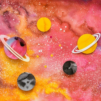 創造的な紙の惑星のフラットレイの品揃え