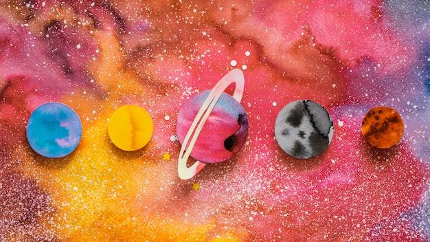 Плоский ассортимент креативных бумажных планет