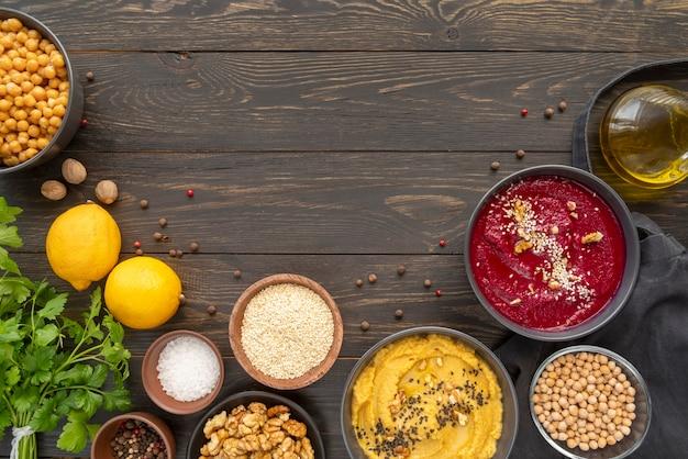 Плоский ассортимент вкусной еды и ингредиентов