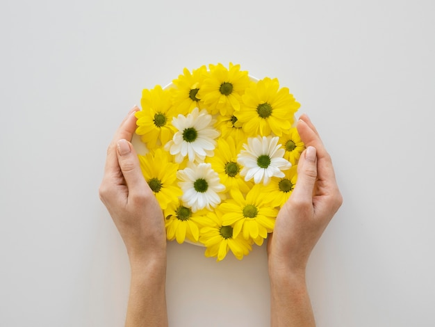 Flat lay assortment of optimism concept with flowers