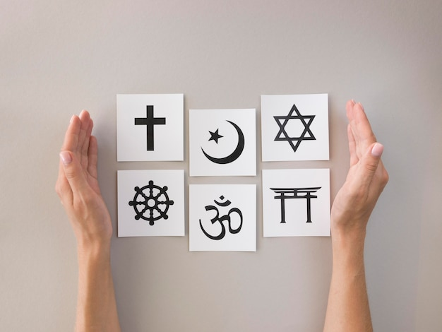 Flat lay of assortment of religious symbols