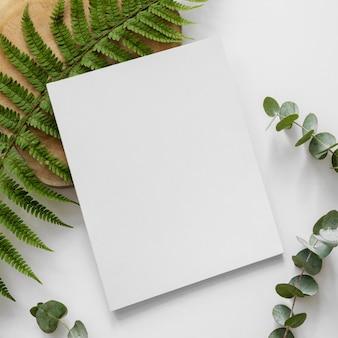 자연 잎과 흰색 잡지가있는 평평한 구색